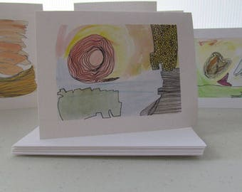 Set of 8 Notecards - art prints of original drawings, color