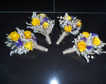 Dried flower boutinerre set of 4