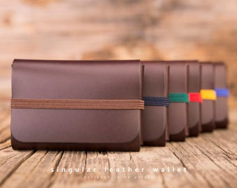SINGULAR LEATHER WALLET    - brown -       Minimalist; Slim; Minimal; Small; Card holder; Card wallet; Coin wallet; Men Wallet; Women Wallet