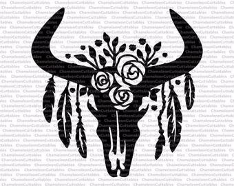 cow skull with feathers single layer/color, svg, cut, file, bull, floral, flowers,  flourishes, vector, silhouette, clip art, design