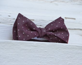 Dots on Burgundy Bow Tie | Chambray Father Son, Matching Bow Ties, HANDMADE CUSTOM ORDER, Pre-Tie or Self-Tie | Mens, Boys, Toddler or Baby