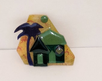 Vintage House Pin,House Pins By Lucinda, Lucinda Pin, Lucinda House Pin, Palm Tree Pin