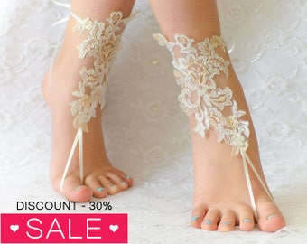 Wedding barefoot sandals, wedding shoes, wedding shoes lace, wedding shoes for bride, beach anklets 01