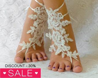 Barefoot sandals Ivory, beach wedding barefoot sandals, barefoot sandles, wedding barefoot sandals lace barefoot sandals