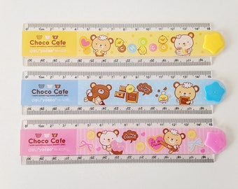 Deli Choco Cafe bears cute kawaii kitsch 30cm folding ruler with shape stencils