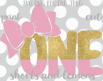 One svg, first birthday SVG, 1st birthday svg, iron on transfer, eps, dxf, svg, cutter files, one svg, birthday girl svg, bow svg