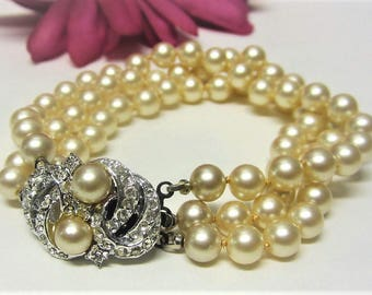 1960s Faux Pearl Bracelet with Rhinestone Clasp Vintage Bridal Bracelet Triple Strand Pearls