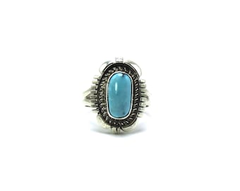 Native American Navajo Handmade Sleeping Beauty Turquoise Sterling Silver Ring Size 6.5