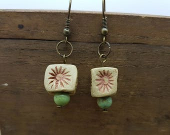 Pottery and agate earrings, gem, pottery, drop