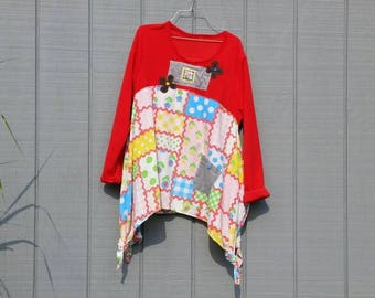 Artsy tunic,upcycled clothing,primary colors,long sleeve tunic,long sleeve dress,repurposed clothing,fleece top,patchwork print,upcycled top