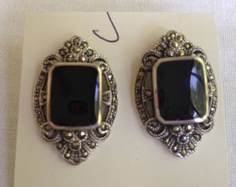 Sterling Silver Onyx and Marcasite Earrings