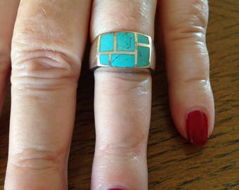 Sterling Silver and Turquoise Inlay Band Ring