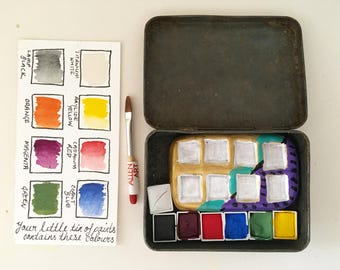 Handmade Watercolour Paint Set - PRIMARY & SECONDARY Colours with Paint Palette