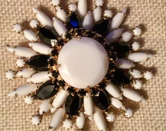 Signed Hattie Carnegie black and white floral brooch 3""