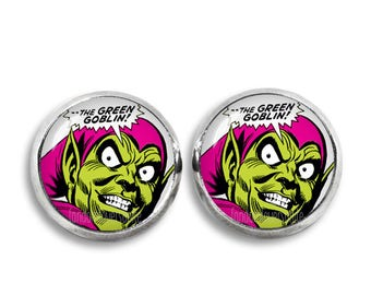 Green Goblin Earrings Fandom Jewelry Green Goblin Stud Earrings Fandom Jewelry Cosplay Fangirl Fanboy