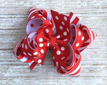"Red hair bows, christmas hair bow, red and white hair bows, big hair bows, holiday bows, big red bows, 5"" hair bows, over the top red bows"