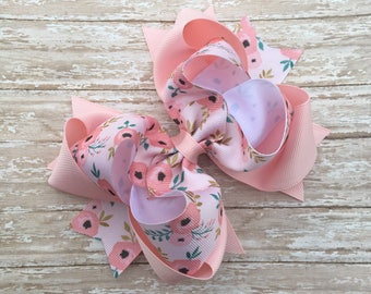 Double stacked hair bows, big hair bows, pink hair bows, peach hair bows, easter hair bows, double stack bows, light pink bows,