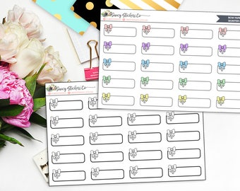 Bow Paperclip Quarter Boxes | for use with Erin Condren Lifeplanner™, Filofax, Personal, A5, Happy Planner