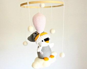 Baby Mobile - Penguin Baby Mobile - Snugg Snow Penguin - Pram, Stroller , Chair Mobile - Nursery Hanging Accessory