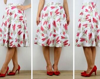 Womens Aline floral cotton skirt, ladies knee length full skirt, printed cotton skirt 6 8 10 12 14 16 Australian Made