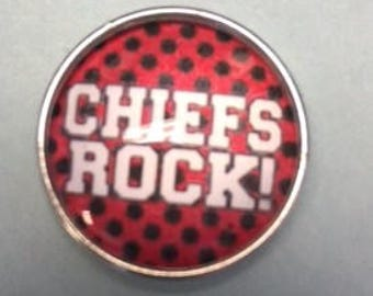 New Interchangeable Snap 18mm - Says 'Chiefs Rock!'   Go Chiefs!