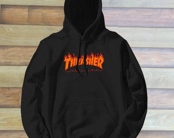 Thrasher Logo Red Orange Unisex hoodie front only Graphic hoodie 6