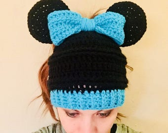 Minnie Mouse Inspired Messy Bun Hat, Minnie Mouse Hat