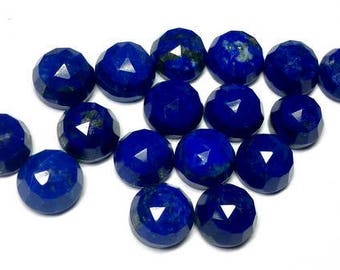 10 pcs 8mm Lapis Lazuli Round RoseCut gemstone, Lapis Lazuli Rose faceted Lapis Lazuli rose cut cabochon round, Lapis Lazuli rose cut round