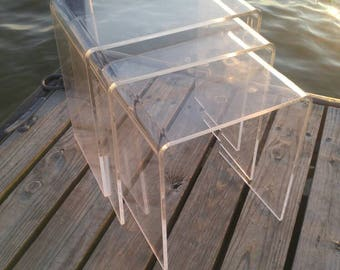 Lucite Nesting Tables (3), Stackable Tables