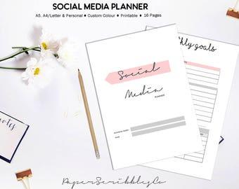 Social Media Planner, Blog Planner, Social Media Tracker, Business Planner Printable, Home Business, Business Marketing, Custom Colour