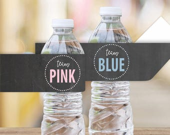 Team Pink Team Blue Printable Water Bottle Labels    Chalkboard Gender Reveal Party Decoration    Gender Reveal Party Idea (DIGITAL PRODUCT)