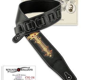 Black Leather Guitar Strap Hand Tooled Black and Gold Skull Design CVG-24