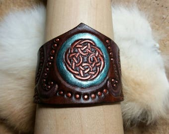 Whimsical leather cuff bracelet