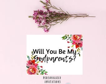 DIGITAL Invite Will You Be My Godmother 5x7 Inches God Parents Card God Mother Card Proposal Cards Godparent CardGodmother Gift PLJ 200