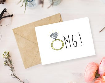 OMG Engagement Card | Engagement | Greeting Card | Wedding Card | Congratulations Card | Wedding | Proposal |