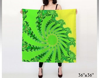 Psychedelic Scarf, Fractal Scarf, Festival Clothing, Psy Clothing, Wrap, Shawl, Wild Scarf, Square Scarf, Long Scarf, Chiffon, Satin, Gift