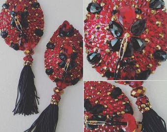 Tear drop pasties w/ tear drop stones & tassels MADE TO ORDER