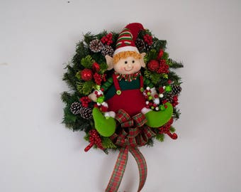 Christmas wreath with elf doll, Whimsical Christmas wreath, Winter wreath, Christmas wreath for front door, Cute Christmas wreath, elf decor