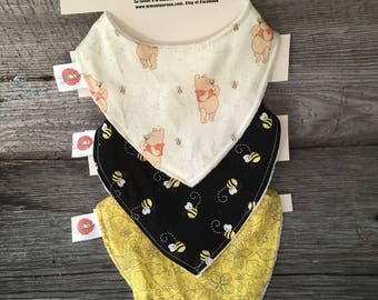 All 3 bibs bibs for baby 0-12 months bavana Pooh bee flower black and yellow