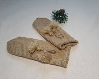 Wool Mittens Knitted  One Size Women's Mittens Fuzzy Mittens Hand Knitted  Hand Knit Mittens