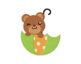 Umbrella bear cub embroidery design