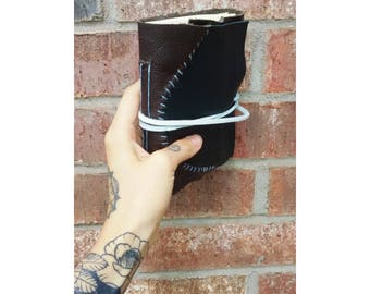 Handmade upcycled, cotton page leather journal/travel journal