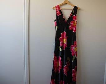 Vintage Long Silk Floral Dress with side slit