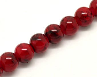 Glass bead round red cracked cracked 8 mm - x 50 beads