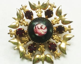 Vintage 1960s Brooch Pin With Black, Gold, and Ruby Colored Rhinestones