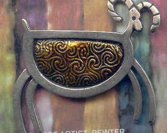 GOLD pewter petroglyph sheep brooch.