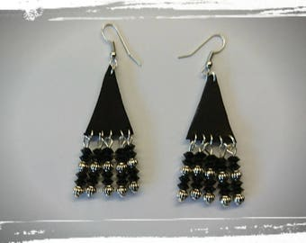 Murano glass beads and leather earrings