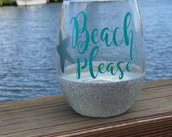 Beach Please 21oz sealed glitter wine glass