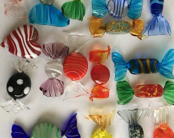 19 Vintage Murano Glass Candies