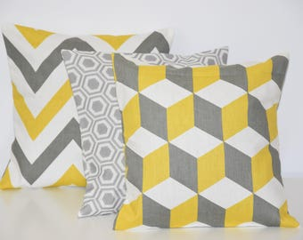 TRIO of pillows - 30X30cm - matching different fabrics - mustard, gray and white
